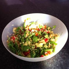 Couscous salad: avocado, pepper, tomatoes, rucola, pine nuts, parmesan cheese, fresh basil and thyme