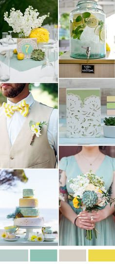 yellow and mint wedding color ideas