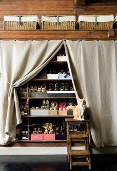 Shelves for Shoes - Eclectic - closet - Atlanta Homes & Lifestyles Walk In Closet, Closet Space, Shoe Closet, Closet Doors, Hidden Closet, Shoe Wardrobe, Closet Wall, Front Closet, Bedroom Wardrobe