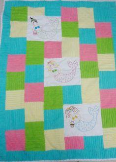 Baby Crib Colorful Mermaids Block Fabric by ChicEventsDecor