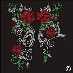 Piedras imitación de Diamante de cristal ropa T-camisa de diseño - diseño de flores de rosas
