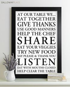 Wall Art Family Rules Sign Subway - house rules print typography poster modern art kitchen rules table manners 12x18 via Etsy