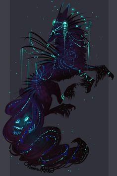 QuillDog Collab Auction: Starwalker by MischievousRaven on DeviantArt Cute Fantasy Creatures, Mythical Creatures Art, Magical Creatures, Fantasy Wolf, Dark Fantasy Art, Creature Concept Art, Creature Design, Yuumei Art, Mystical Animals