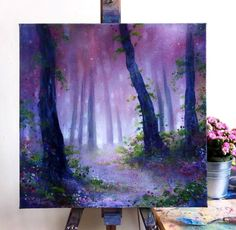 Beauty Entitled: Woodland Glow This magical painting is filled with layers of beautiful colour and s Painting Inspiration, Art Inspo, Magical Paintings, Beautiful Paintings Of Flowers, Deep Paintings, Space Artwork, Forest Painting, Pics Art, Painting & Drawing