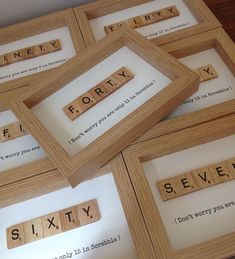 Scrabble Crafts, Scrabble Letters, Scrabble Tiles, Deco Scrabble, Scrabble Ornaments, Framed Letters, Milestone Birthdays, Dad 60th Birthday Gift, 60 Birthday Gift Ideas