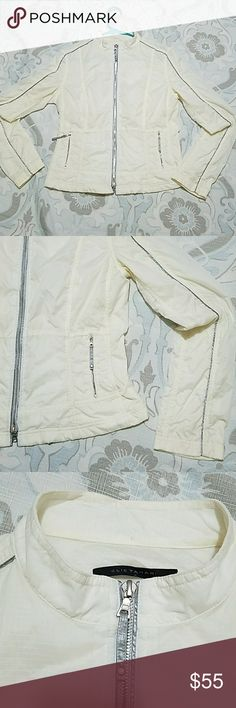 Elie Tahari Jacket Elie Tahari white sport style fitted jacket. Zips all the way in the front, and has zippered pockets. Very comfortable and lined inside. * GENTLY USED* Elie Tahari Jackets & Coats