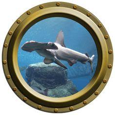 Hammerhead Shark Design 3 Porthole Vinyl Wall Decal | WilsonGraphics - Housewares on ArtFire