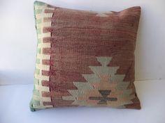 "18""x18"" inch Home Sofa Decor Ethnic Pattern Turkish Kilim Rug Pillow Cover,Handwoven Anatolian Kilim Pillow,Vintage Kilim Pillow."