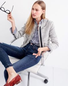 J.Crew women's tweed lady jacket, Thomas Mason® for J.Crew stretch shirt in stripe, toothpick jean in Point Lake wash and Biella loafers.