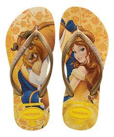 Look at this #zulilyfind! Citrus Yellow Disney Princess Belle Slim Flip-Flop - Kids #zulilyfinds