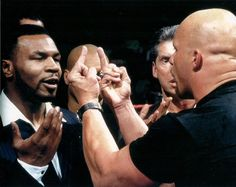 Mike Tyson meets Stone Cold Steve Austin WWE Raw - January 1998 On January Stone Cold Steve Austin had set the battlefield for the Royal Rumble. He had spent weeks delivering Stone Cold Stunners to everyone he could get his hands. Austin Wwe, Wwe Steve Austin, Wwe Funny, Stone Cold Steve, Wrestling Superstars, Gym Memes, Gym Humor, Mike Tyson, Professional Wrestling