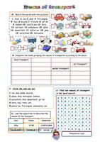 Words needed are from the topic of transport. - ESL worksheets