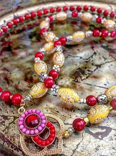 Bohemian Handmade Gypsy-Boho-Hippie Long Beaded Necklace. Bright Yellow and Red Beads. Moroccan Style Long Pendant. by GitanaYoSoy on Etsy