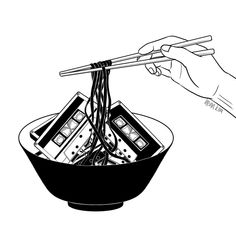 """Enjoy your meal . . . #music #lover #cassette #tape #noodles"" by henn kim"