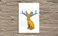 "'Jackalope - Red' by Wren 12""x18"" 2 color screen print"