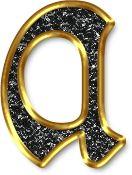Alfabeto Negro con Orilla Dorada. Letras minúsculas. Letra a, vocal.