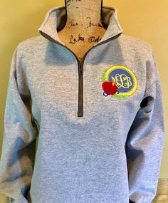 ab459af3982 Teacher gift, school jacket, pullover quarter zip, apple monogram,  embroidered school shirt, customize school colors plus size available