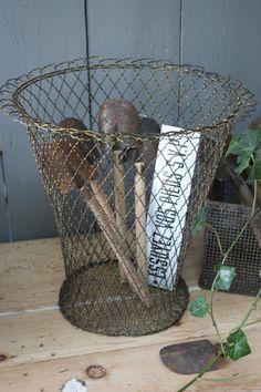 antique wire waste basket...