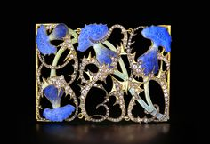 Rene Lalique cuff with enamel and pave-set diamond leaves