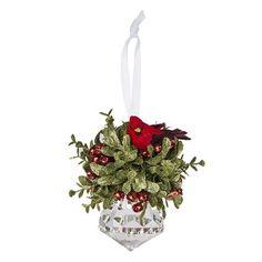 Kissing Krystals Glitter Mistletoe & Cardinal Christmas Ornament, Multicolor