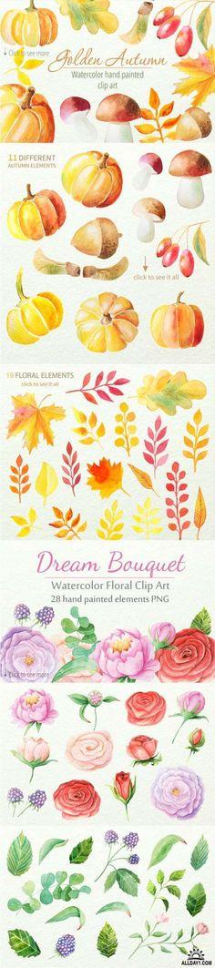 Watercolor Floral BUNDLE 148 Element - 522541