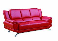 U9908 Series Natalie Red Bonded Leather Sofa