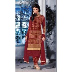 Eid Special Designer Maroon Embroidered Plazzo Salwaar Suit-6906( OFB-301)Karishma