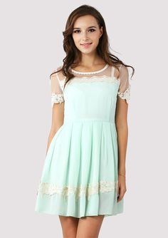 Dolly Floral Lace Trim Mint Dress