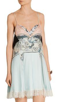 Mary Katrantzou  Pleated silk, lace and jacquard mini dress