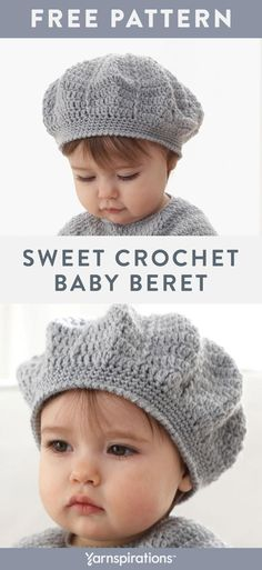 This free baby beret crochet pattern has an heirloom quality when worked up in Patons Beehive Baby Sport yarn. This free baby beret crochet pattern has an heirloom quality when worked up in Patons Beehive Baby Sport yarn.Craft this sweet dress, compl Bag Crochet, Crochet Beanie, Baby Blanket Crochet, Free Crochet, Free Baby Crochet Patterns, Crochet Baby Bonnet, Knitting Patterns, Sewing Patterns Baby, Crochet Mittens