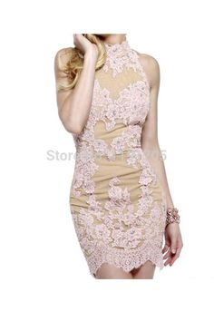 Aliexpress.com : Buy Elegant Halter Backless Pink Lace Prom dresses 2014 Sheath Mini Evening Gowns 2014 New Fashion from Reliable gown suppliers on Morningsilkwig