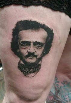 Edgar Allen Poe portrait Tattoo done by Britaini Albin at Damask Tattoo in Seattle, WA