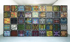 Christie van der Haak (1950)   2008  50 x 50 x 50 cm (49 parts)  iron, mdf, jacquard woven fabric