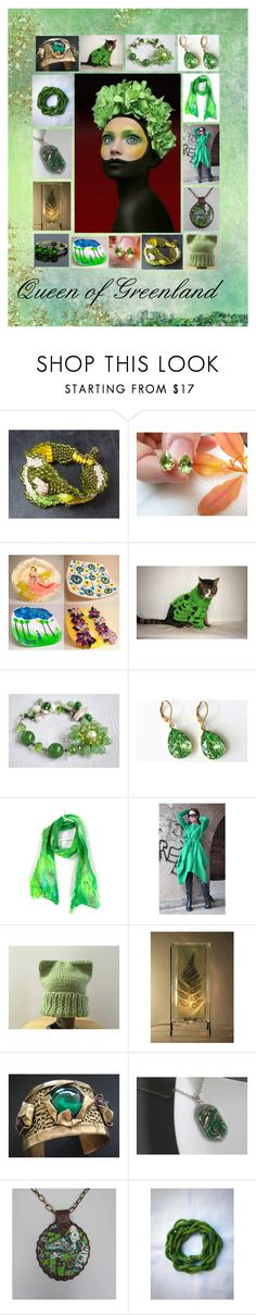 """""""Queen of Greenland: Green Handmade Gift Ideas"""" by paulinemcewen on Polyvore featuring vintage and country"""