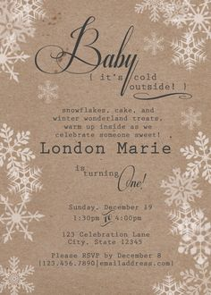 Rustic Winter Wonderland Birthday Invitation by WimberlyDesigns on Etsy