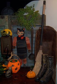 Primitive Antique Vtg Style Retro Halloween Witches Hearth Whisk Wisk Broom