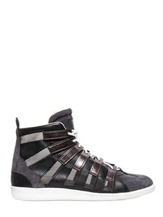 Maison Martin Margiela Leather & Suede High Top Sneakers on shopstyle.co.uk