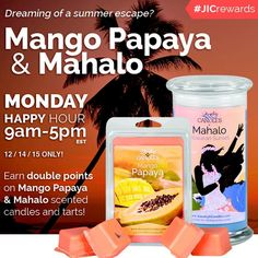 Rewind to the summer time with these two Tropical scents. #jicdoublerewardpoints #jichappyhour #foodie #candles A tropical blend of orchid tuberose and awapuhi with a hint of vanilla sandalwood and a light musk. Let the fruity blend of sun-kissed mangoes and succulent papaya tantalize your taste buds.  http://ift.tt/1IeUHGb #nvusddjic #tropical #vacations #sahm #yogi #yoga #healthy