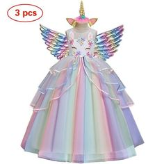 Flower Girl Unicorn Rainbow Dress Girls Party Dress, Wedding Party Dresses, Girls Dresses, Dress Girl, Rapunzel, Unicorn Dress, Unicorn Headband, Unicorn Makeup, Unicorn Costume