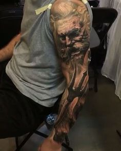 Sleeve tattoo poseidon