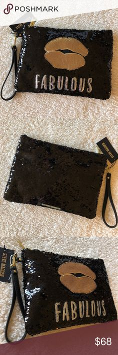 "🌺NWT! STEVE MADDEN SPARKLE SEQUIN WRISTLET BRAND NEW! BEAUTIFUL AUTHENTIC STEVE MADDEN SPARKLE SEQUIN LARGE WRISTLET-Approximately 12 1/2"" W X 9"" H....Please refer to pics, for pockets...... Steve Madden Bags Clutches & Wristlets"