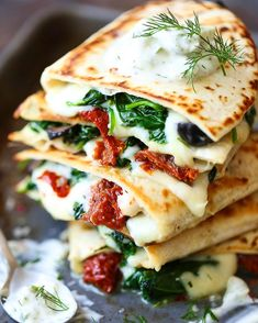 Greek quesadillas with homemade Greek tzatziki sauce on the blog now! http://damndelicious.net/2016/07/23/greek-quesadillas/