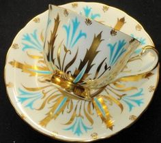 Royal Chelsea Turquoise Blue Tea Cup and Saucer Gold