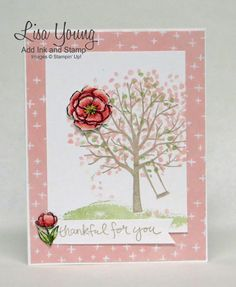Stampin' Up! Sheltering Tree stamp set with a blossom from Indescribable Gifts stamp set . A Spring card. Spotlight technique. Made by Lisa Young from Add Ink and Stamp.