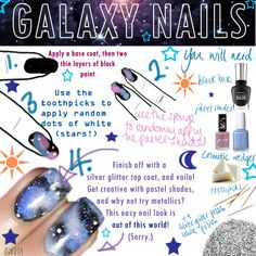 Super-easy galaxy nails tutorial!