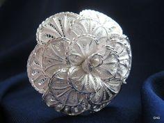 Handmade Silver Filigree Rose Flower