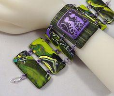 Polymer Clay YaYa Bracelet Purple Cats by auntgriz, via Flickr