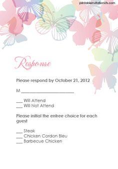 Spring Butterflies Wedding Invitation Set
