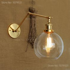 Online Shop Retro Two Swing Arm Wall Lamp Glass Shade Wall Sconces,Wall Mount Swing Arm Lamps With Edison Bulbs|Aliexpress Mobile