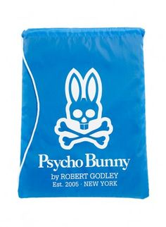 "We know you want to take Psycho Bunny with you when you travel, as quality is a language spoken the world over. This printed 12 1/2"" x 17"" Bunny drawstring backpack is the prefect alternative to those bulky heavy backpacks. Why not travel around in both comfort and style?"